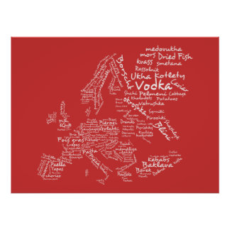 Food Map of Europe (Red) Poster