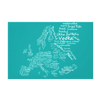 Food map of Europe - Turquoise/ Teal / Aqua Blue Canvas Print