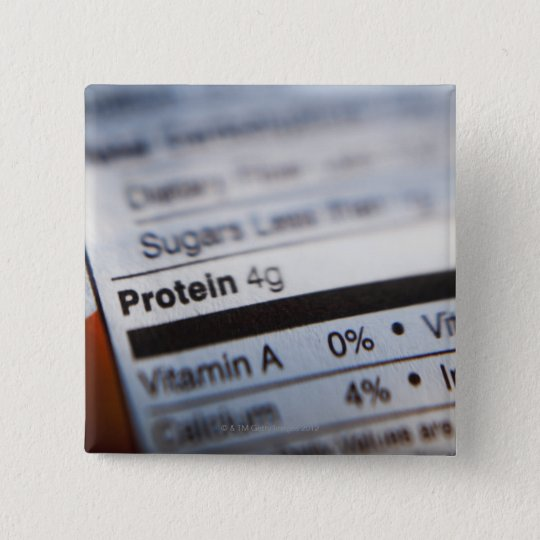 Food nutrition label 15 cm square badge