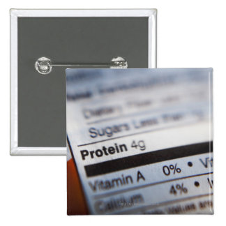Food nutrition label 15 cm square badge