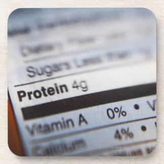Food nutrition label beverage coaster