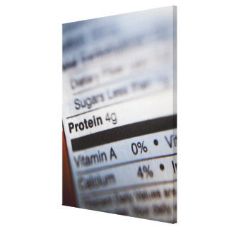 Food nutrition label canvas print