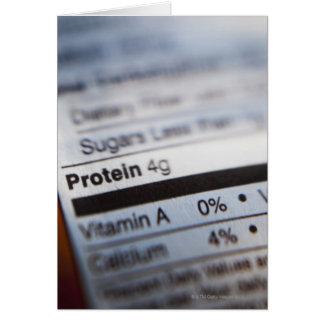 Food nutrition label card