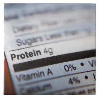 Food nutrition label large square tile