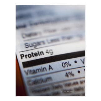 Food nutrition label postcard