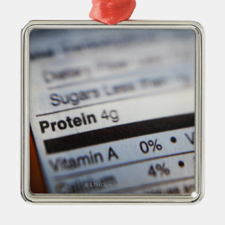Food nutrition label Silver-Colored square decoration
