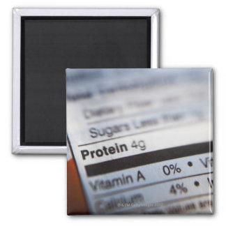 Food nutrition label square magnet