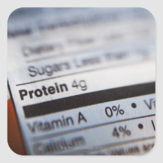 Food nutrition label square sticker