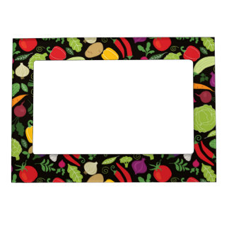Food on a black background frame magnet