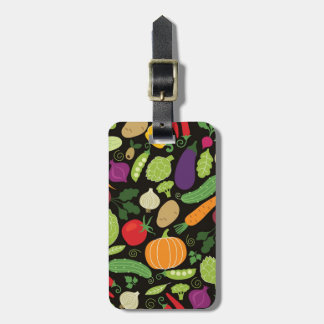 Food on a black background luggage tag