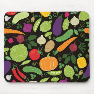 Food on a black background mouse pad