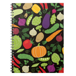 Food on a black background spiral notebooks