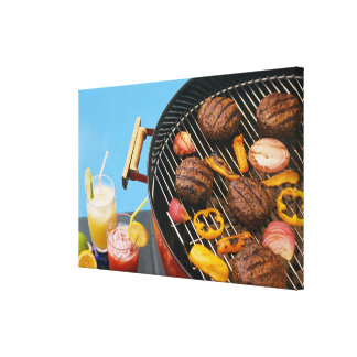 Food on grill canvas print