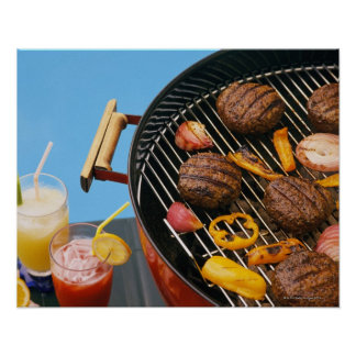Food on grill posters