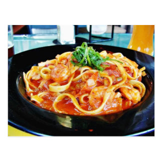 Food Pasta Shrimp Postcard