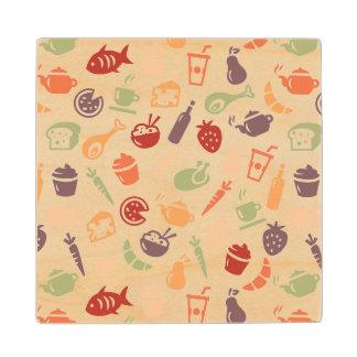 Food Pattern 2 Wood Coaster