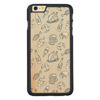 Food Pattern Carved Maple iPhone 6 Plus Case