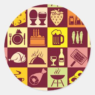 Food Pattern Classic Round Sticker
