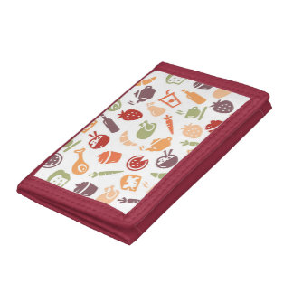 Food Pattern Tri-fold Wallets