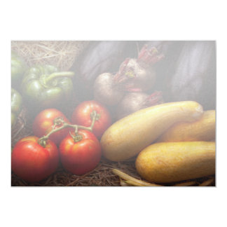 Food - Peppers, Tomatoes, Squash and Turnips 5x7 Paper Invitation Card