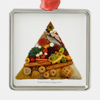 Food Pyramid Silver-Colored Square Decoration
