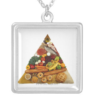 Food Pyramid Silver Plated Necklace