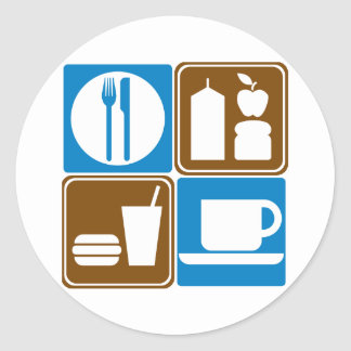 Food Services Highway Signs Collection Round Sticker