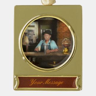 Food - Sweet - Malt Milk Mustache 1939 Gold Plated Banner Ornament