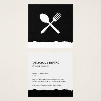 Food Utensils Torn Look Square Business Card