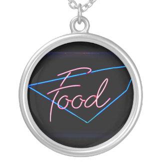 FOOD - Vintage Blue & Red Neon Sign Custom Necklace