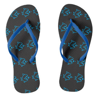 FoodChain Fish Pattern Flip Flops