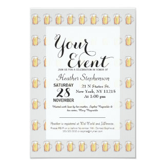 Foodie Cold Beer Mug in Hand Painted Watercolor 9 Cm X 13 Cm Invitation Card