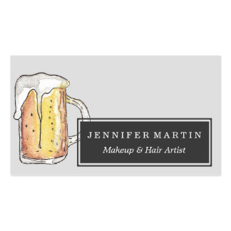 Foodie Cold Beer Mug in Hand Painted Watercolor Pack Of Standard Business Cards