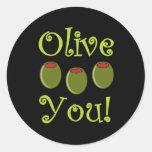Foodie Olive You Round Sticker