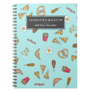 Foodie Watercolor Illustrations Pizza Fries Bacon Notebook