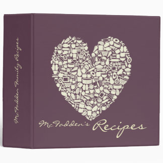 Foodies Cream & Eggplant Recipe Clippings Binder