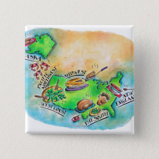 Foods of the USA 15 Cm Square Badge