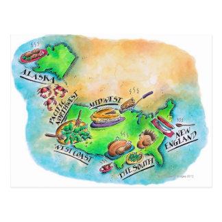 Foods of the USA Postcard