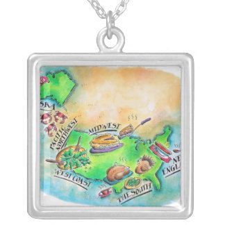 Foods of the USA Silver Plated Necklace