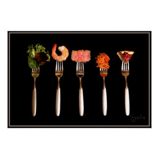 Foods on Forks Poster (Black)