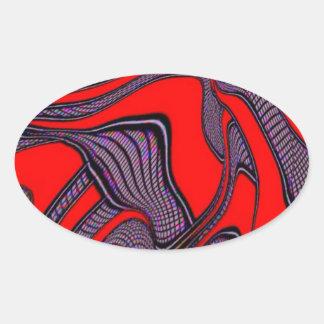 foolish movements, red black oval sticker
