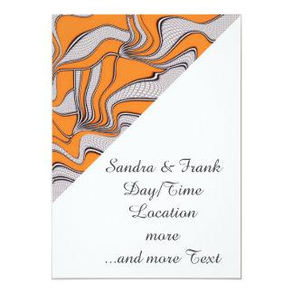 """foolish movements swirl orange 5"""" x 7"""" invitation card"""