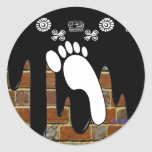 FOOT BRICK BACKGROUND PRODUCTS ROUND STICKERS