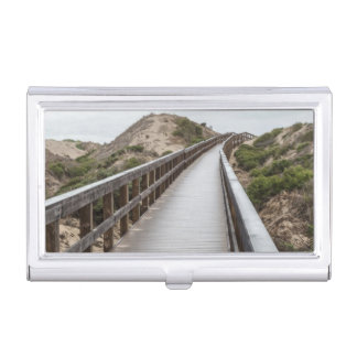 Foot Bridge at Oso Flaco Lake State Park Business Card Holder