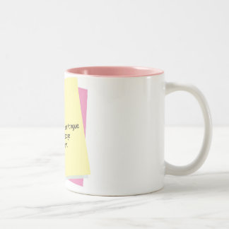 foot in mouth Two-Tone mug