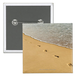 Foot prints in Sand with Wave 15 Cm Square Badge