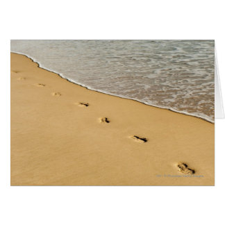 Foot prints in Sand with Wave Card
