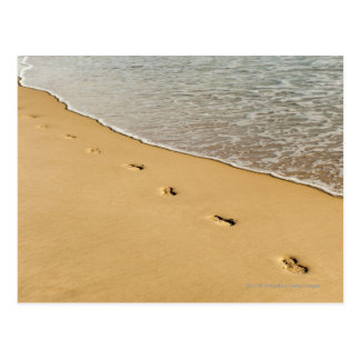 Foot prints in Sand with Wave Postcard