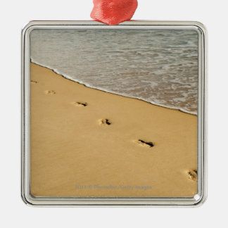 Foot prints in Sand with Wave Silver-Colored Square Decoration