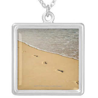 Foot prints in Sand with Wave Silver Plated Necklace